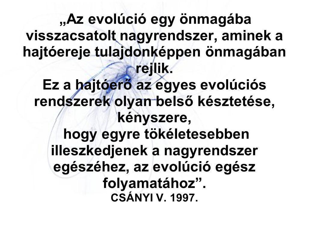 """""""Az evolúció egy önmagába visszacsatolt nagyrendszer, aminek a hajtóereje tulajdonképpen önmagában rejlik. Ez a hajtóerő az egyes evolúciós rendszerek"""