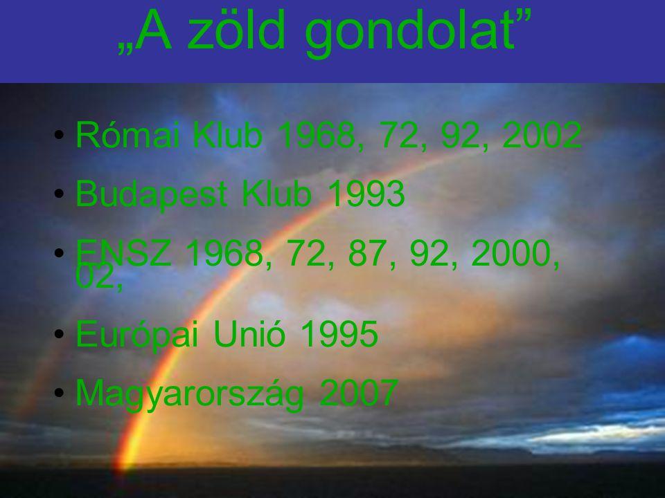 """""""A zöld gondolat Római Klub 1968, 72, 92, 2002 Budapest Klub 1993 ENSZ 1968, 72, 87, 92, 2000, 02, Európai Unió 1995 Magyarország 2007"""