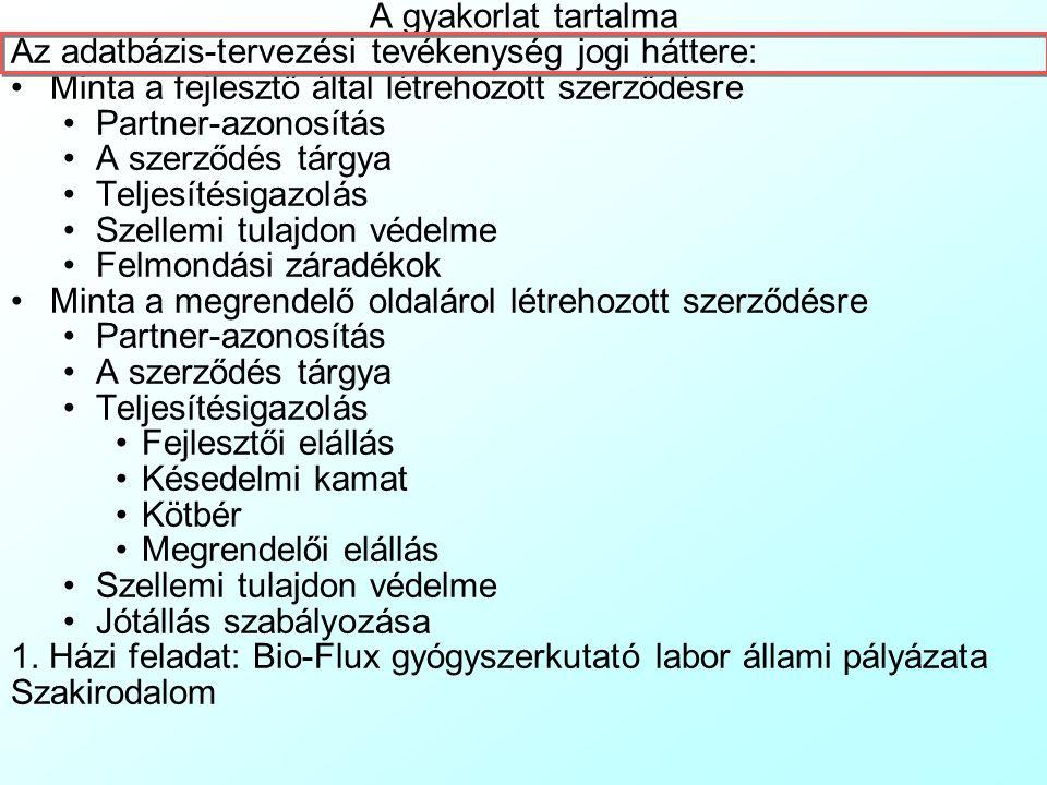 Adatbázis-tervezés konzultáció 1. Gyakorlat Dr. Pauler Gábor, egyetemi docens, ev.