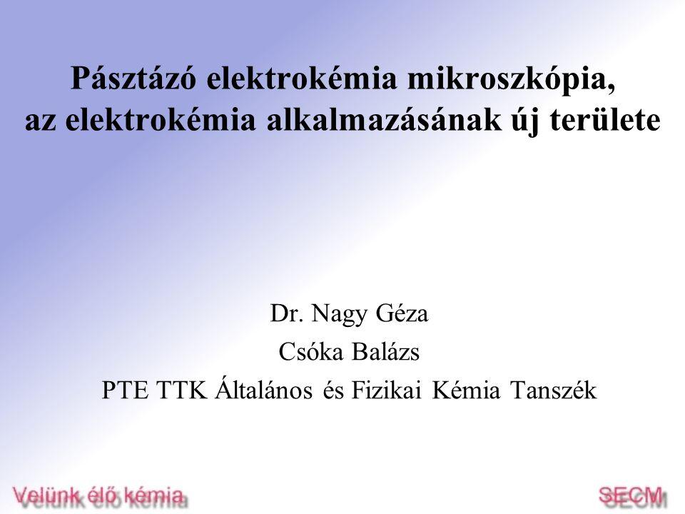 Pásztázó elektrokémia mikroszkópia, az elektrokémia alkalmazásának új területe Dr. Nagy Géza Csóka Balázs PTE TTK Általános és Fizikai Kémia Tanszék