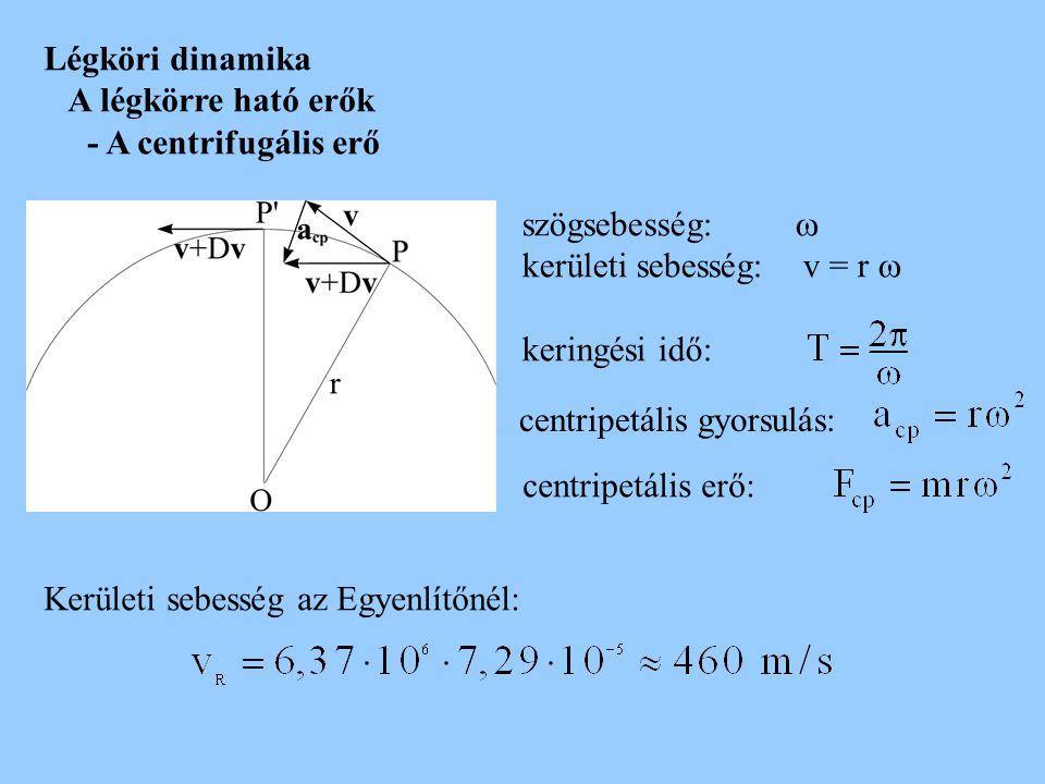 Légköri dinamika A légkörre ható erők - A centrifugális erő szögsebesség:  kerületi sebesség: v = r  keringési idő: centripetális gyorsulás: centrip