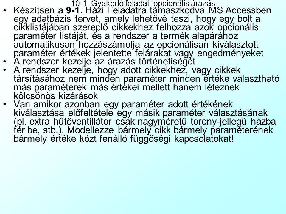 A gyakorlat tartalma 9. Házi feladat ellenőrzése: Számítástechnikai bolt árunyilvántartása 10-1. Gyakorló feladat: opcionális árazás