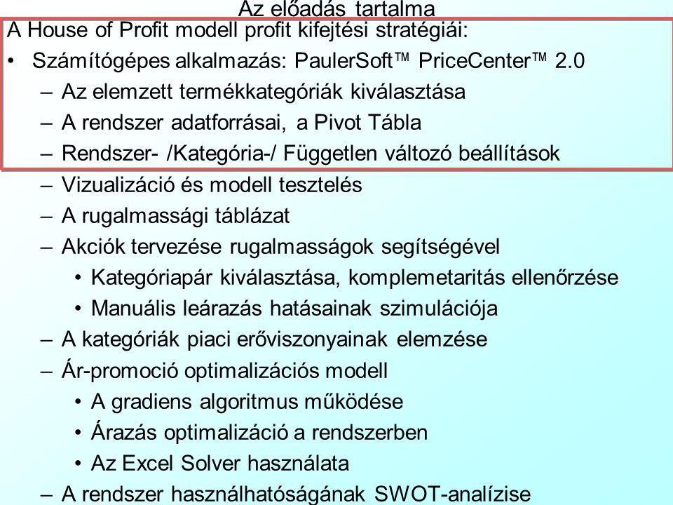 PriceCenter ™ v2.0: Modell tesztelés A Regress munkalap tartalmazza a regressziós modellek tesztelésével kapcsolatos információkat: A piros számok mindig az adott koefficiens 2 oldalú t-tesztjének (1-2  ) megbízhatósági szintjét jelentik A zöld számok az adott modell illeszkedésének R 2 tesztjét jelzik Sorokban vannak az egyes kategóriákra vonatkozó modellek adatai.