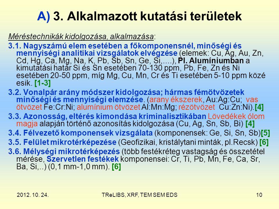 2012. 10. 24.TReLIBS, XRF, TEM SEM EDS10 A) 3. Alkalmazott kutatási területek Méréstechnikák kidolgozása, alkalmazása: 3.1. Nagyszámú elem esetében a