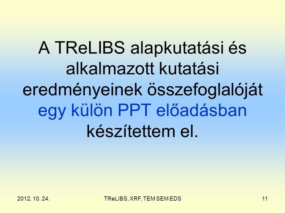 2012. 10. 24.TReLIBS, XRF, TEM SEM EDS11 A TReLIBS alapkutatási és alkalmazott kutatási eredményeinek összefoglalóját egy külön PPT előadásban készíte