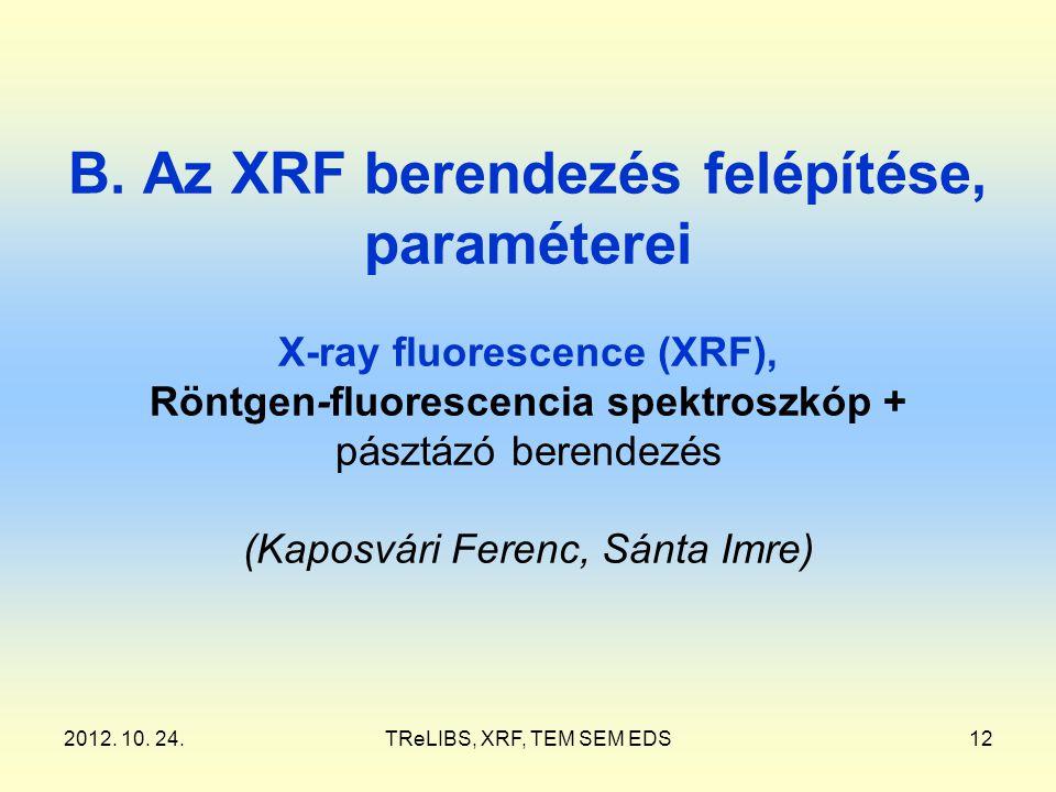 2012. 10. 24.TReLIBS, XRF, TEM SEM EDS12 B. Az XRF berendezés felépítése, paraméterei X-ray fluorescence (XRF), Röntgen-fluorescencia spektroszkóp + p