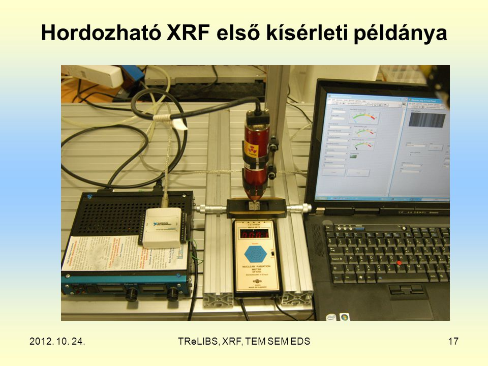 2012. 10. 24.TReLIBS, XRF, TEM SEM EDS17 Hordozható XRF első kísérleti példánya