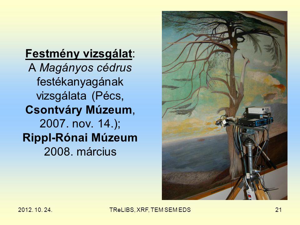 2012. 10. 24.TReLIBS, XRF, TEM SEM EDS21 Festmény vizsgálat: A Magányos cédrus festékanyagának vizsgálata (Pécs, Csontváry Múzeum, 2007. nov. 14.); Ri