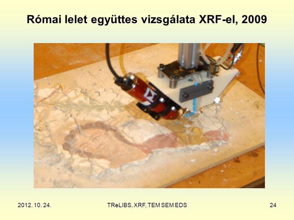 2012. 10. 24.TReLIBS, XRF, TEM SEM EDS24 Római lelet együttes vizsgálata XRF-el, 2009