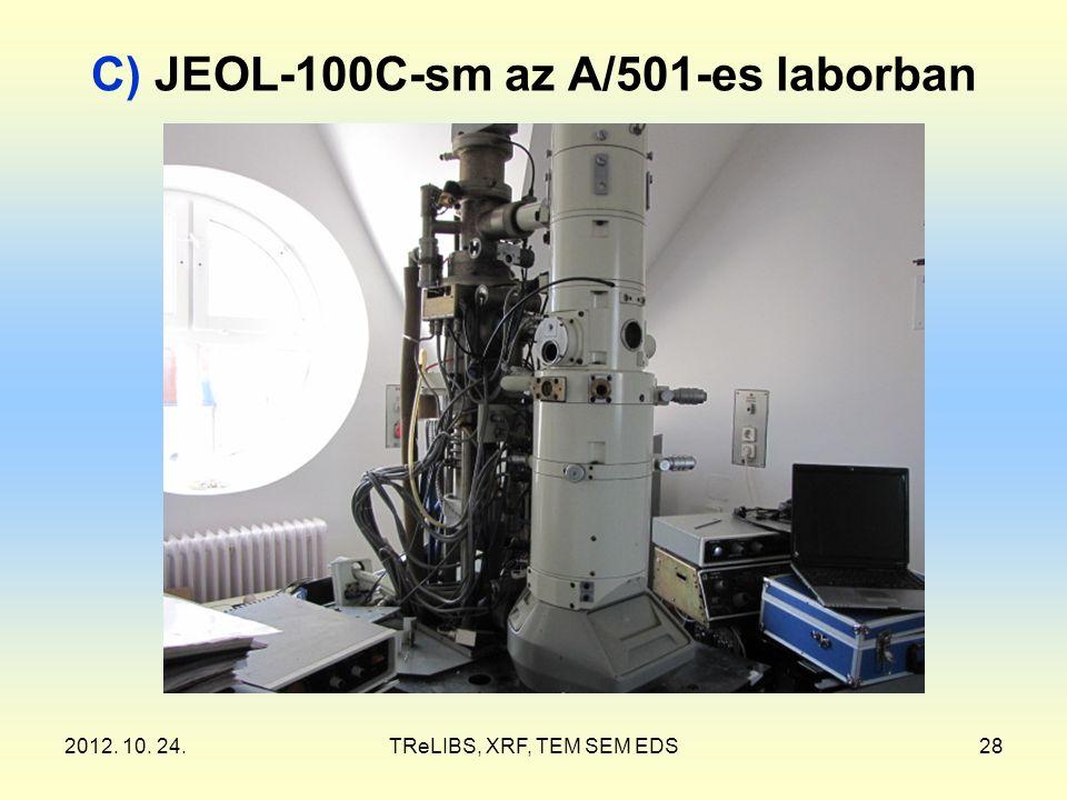 2012. 10. 24.TReLIBS, XRF, TEM SEM EDS28 C) JEOL-100C-sm az A/501-es laborban