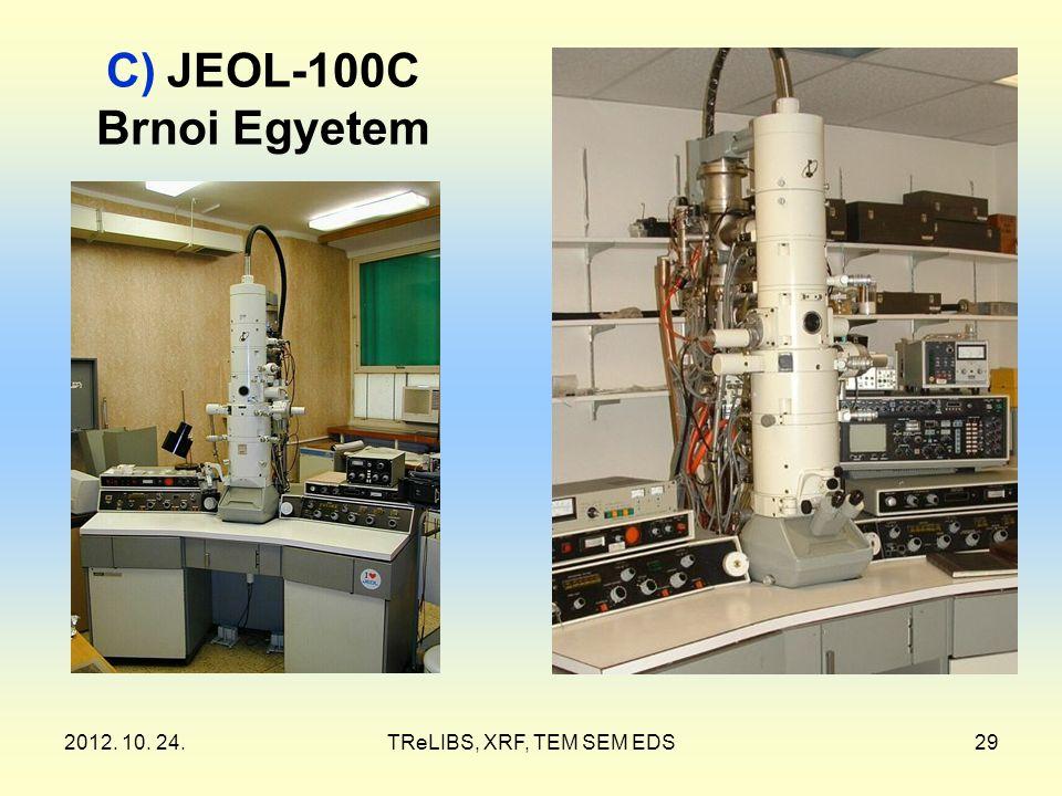 2012. 10. 24.TReLIBS, XRF, TEM SEM EDS29 C) JEOL-100C Brnoi Egyetem