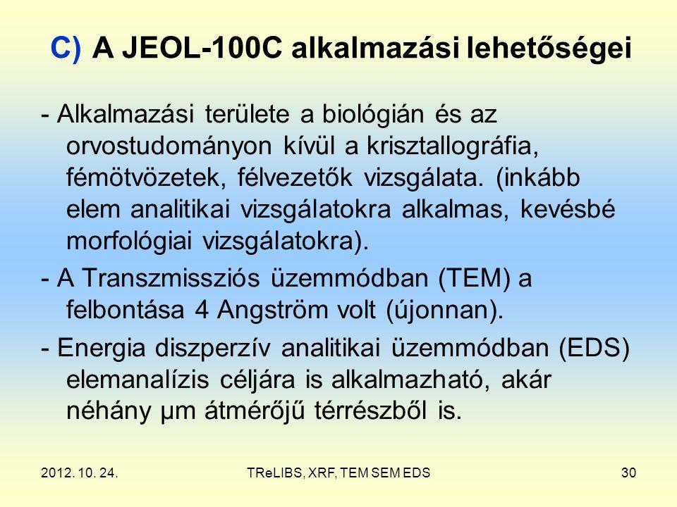 2012. 10. 24.TReLIBS, XRF, TEM SEM EDS30 C) A JEOL-100C alkalmazási lehetőségei - Alkalmazási területe a biológián és az orvostudományon kívül a krisz