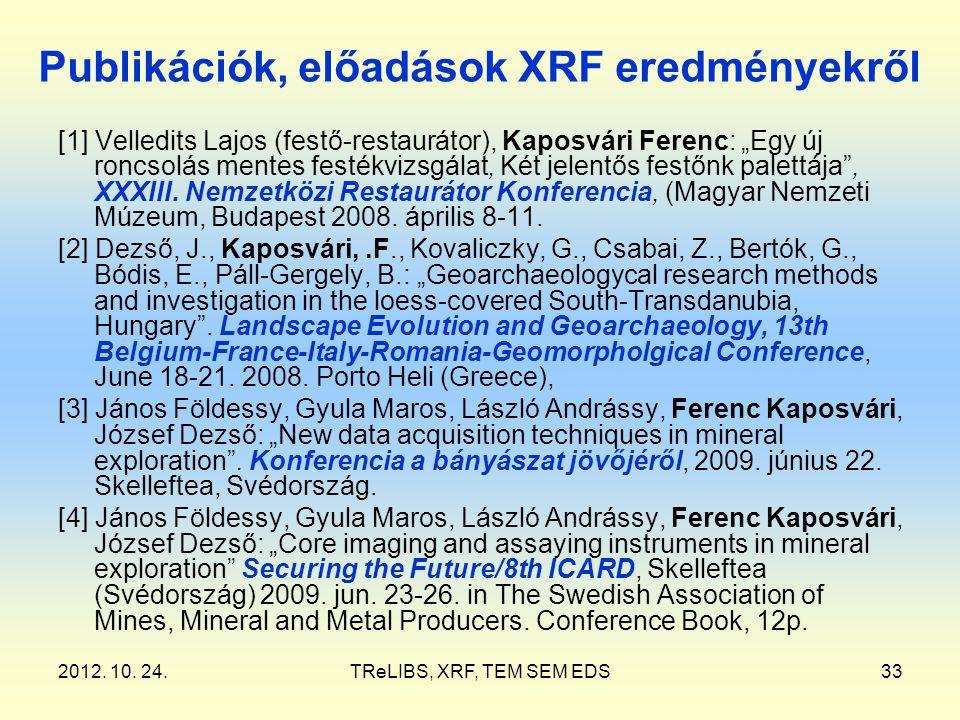 """2012. 10. 24.TReLIBS, XRF, TEM SEM EDS33 Publikációk, előadások XRF eredményekről [1] Velledits Lajos (festő-restaurátor), Kaposvári Ferenc: """"Egy új r"""