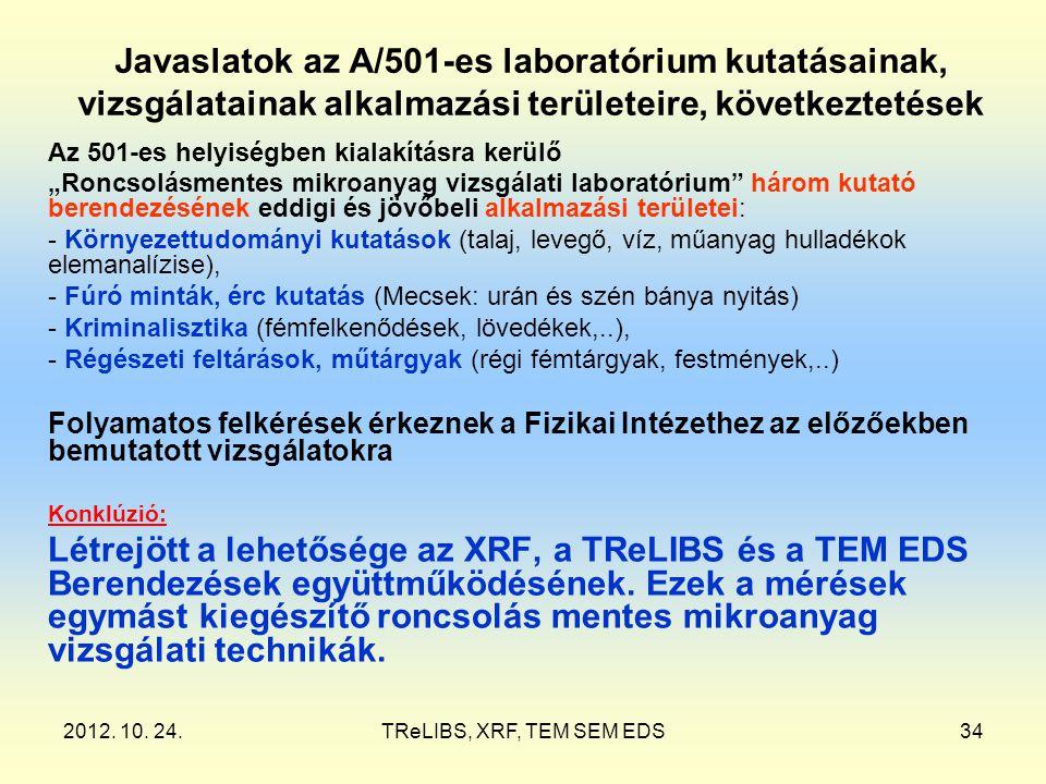 2012. 10. 24.TReLIBS, XRF, TEM SEM EDS34 Javaslatok az A/501-es laboratórium kutatásainak, vizsgálatainak alkalmazási területeire, következtetések Az