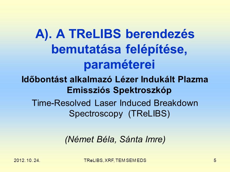 2012. 10. 24.TReLIBS, XRF, TEM SEM EDS5 A). A TReLIBS berendezés bemutatása felépítése, paraméterei Időbontást alkalmazó Lézer Indukált Plazma Emisszi