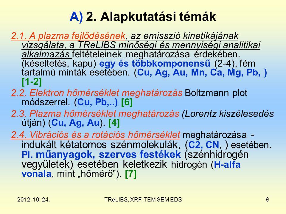 2012. 10. 24.TReLIBS, XRF, TEM SEM EDS9 A) 2. Alapkutatási témák 2.1. A plazma fejlődésének, az emisszió kinetikájának vizsgálata, a TReLIBS minőségi