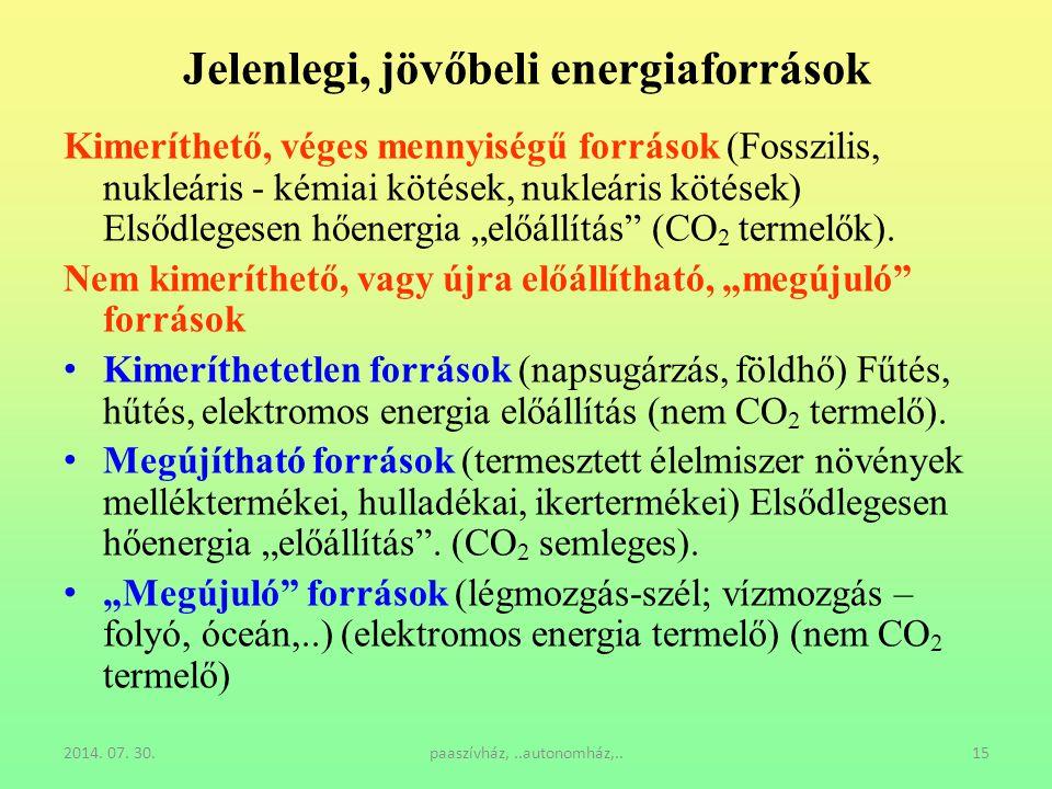 2014. 07. 30.paaszívház,..autonomház,..15 Jelenlegi, jövőbeli energiaforrások Kimeríthető, véges mennyiségű források (Fosszilis, nukleáris - kémiai kö