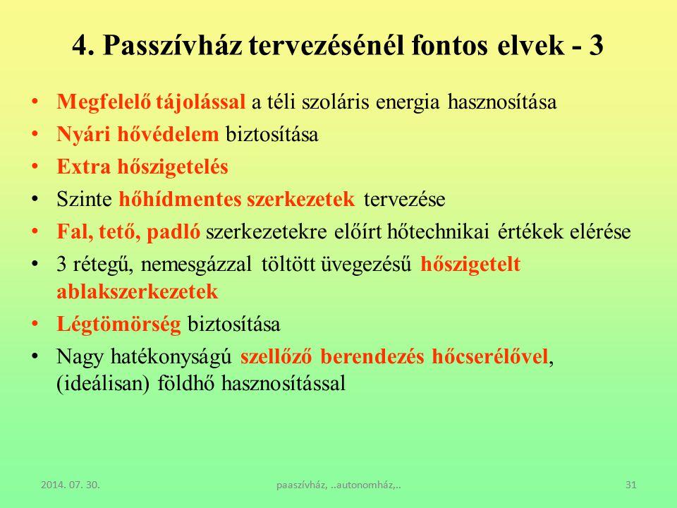 2014. 07. 30.paaszívház,..autonomház,..31 4. Passzívház tervezésénél fontos elvek - 3 Megfelelő tájolással a téli szoláris energia hasznosítása Nyári