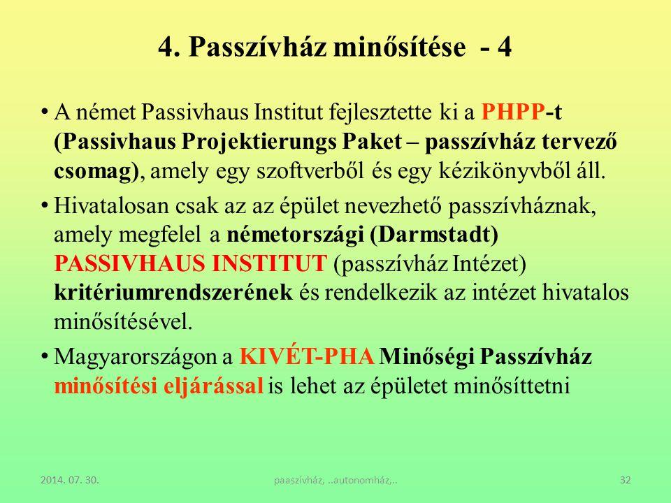 2014. 07. 30.paaszívház,..autonomház,..322014. 07. 30.32 4. Passzívház minősítése - 4 A német Passivhaus Institut fejlesztette ki a PHPP-t (Passivhaus