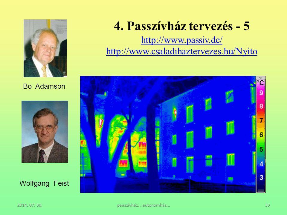 2014. 07. 30.paaszívház,..autonomház,..332014. 07. 30.paaszívház,..autonomház,..33 4. Passzívház tervezés - 5 http://www.passiv.de/ http://www.csaladi