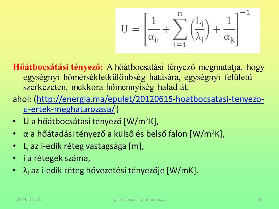 2014. 07. 30.paaszívház,..autonomház,..34 Hőátbocsátási tényező: A hőátbocsátási tényező megmutatja, hogy egységnyi hőmérsékletkülönbség hatására, egy