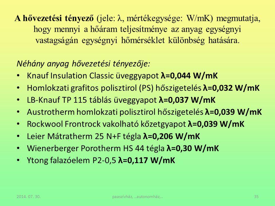 2014. 07. 30.paaszívház,..autonomház,..35 A hővezetési tényező (jele: λ, mértékegysége: W/mK) megmutatja, hogy mennyi a hőáram teljesítménye az anyag
