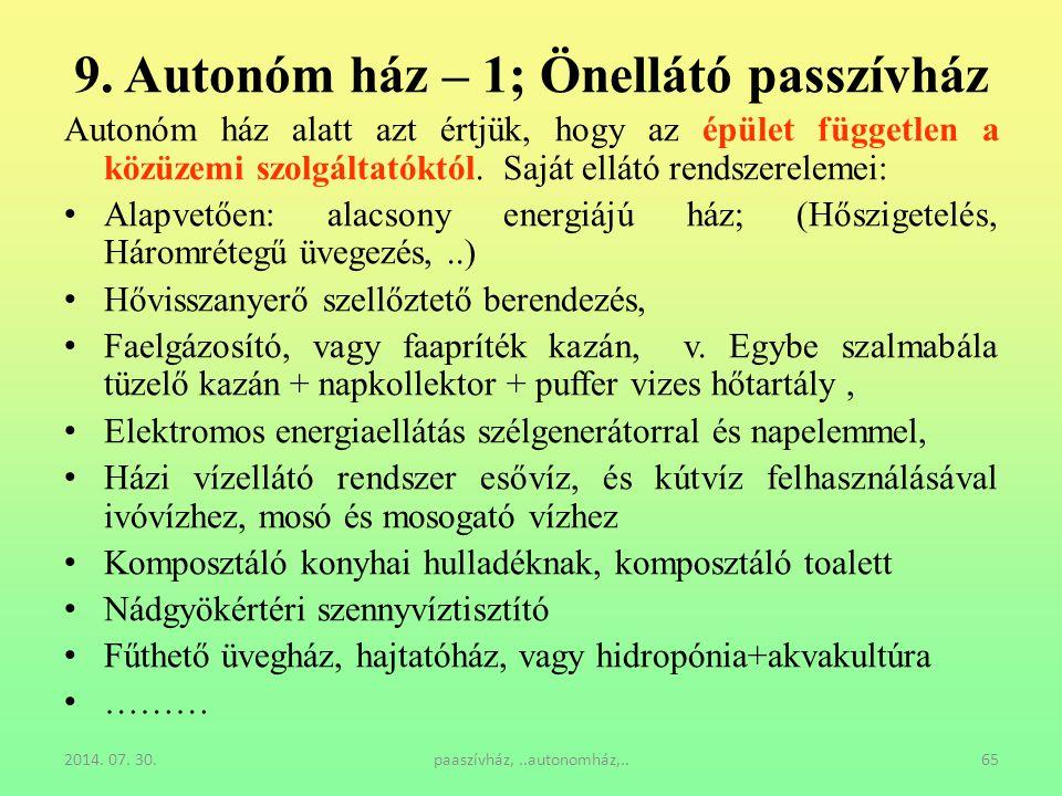2014. 07. 30.paaszívház,..autonomház,..65 9. Autonóm ház – 1; Önellátó passzívház Autonóm ház alatt azt értjük, hogy az épület független a közüzemi sz