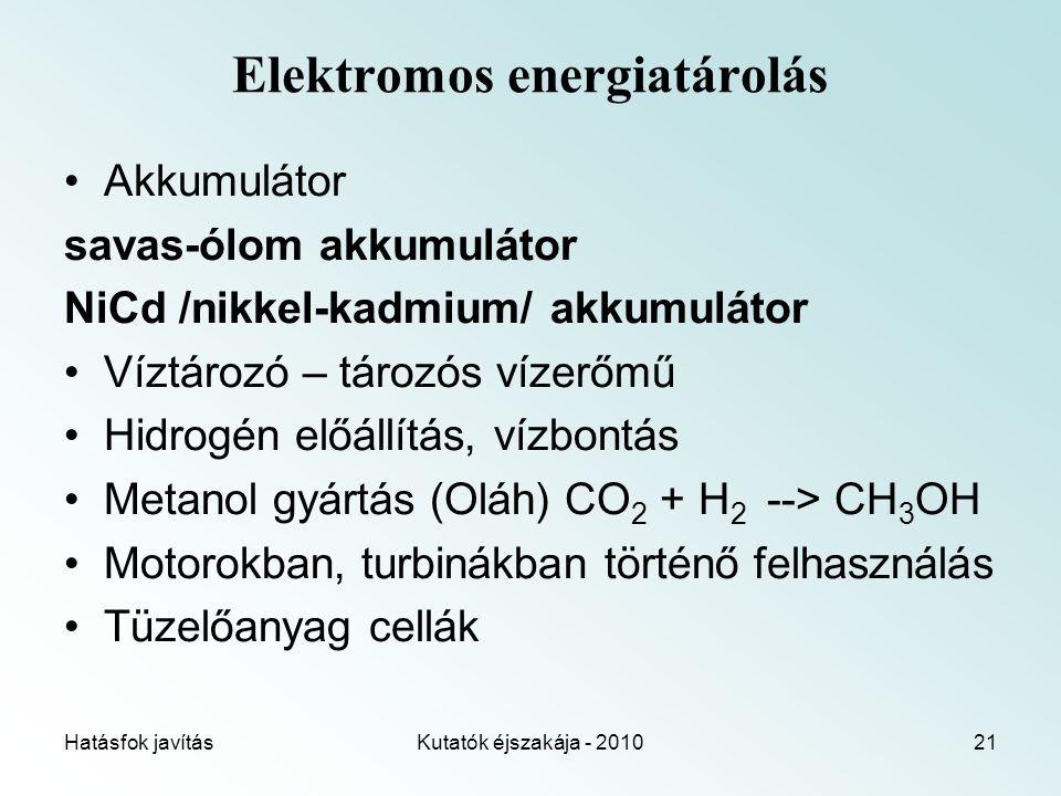 Hatásfok javításKutatók éjszakája - 201021 Elektromos energiatárolás Akkumulátor savas-ólom akkumulátor NiCd /nikkel-kadmium/ akkumulátor Víztározó – tározós vízerőmű Hidrogén előállítás, vízbontás Metanol gyártás (Oláh) CO 2 + H 2 --> CH 3 OH Motorokban, turbinákban történő felhasználás Tüzelőanyag cellák