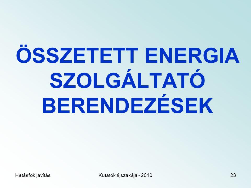 Hatásfok javításKutatók éjszakája - 201023 ÖSSZETETT ENERGIA SZOLGÁLTATÓ BERENDEZÉSEK