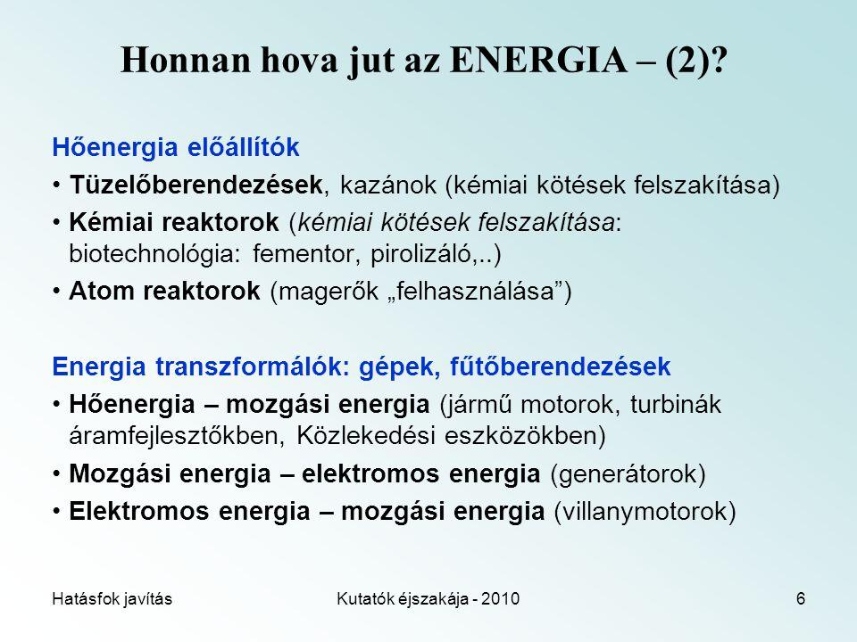Hatásfok javításKutatók éjszakája - 20106 Honnan hova jut az ENERGIA – (2).