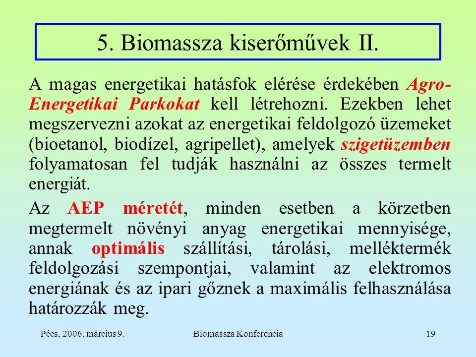 Pécs, 2006. március 9.Biomassza Konferencia19 5. Biomassza kiserőművek II.
