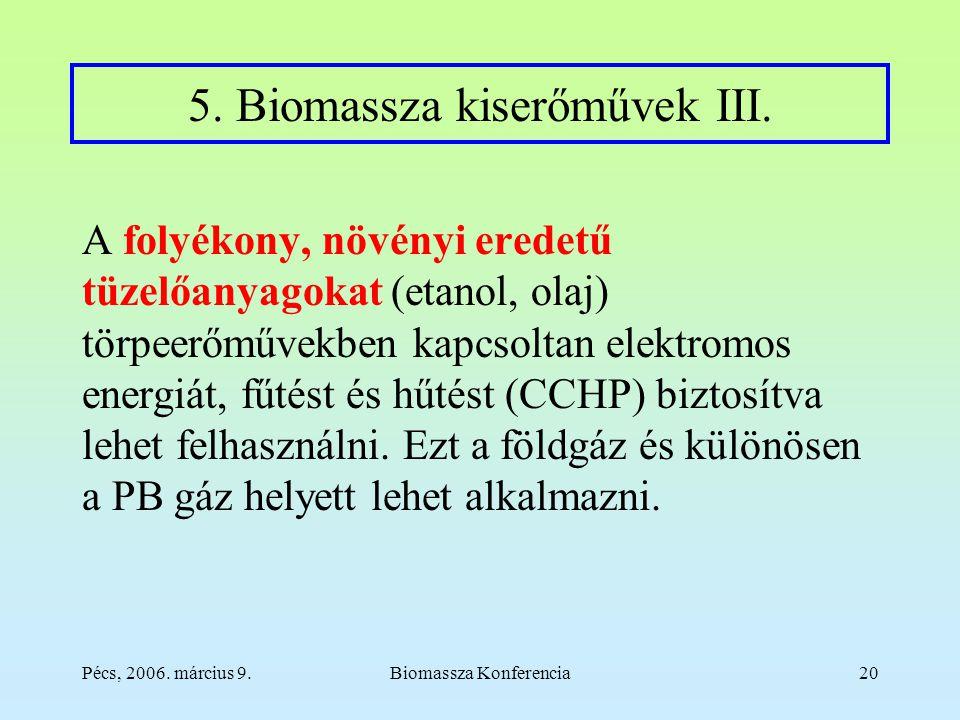 Pécs, 2006. március 9.Biomassza Konferencia20 5. Biomassza kiserőművek III.
