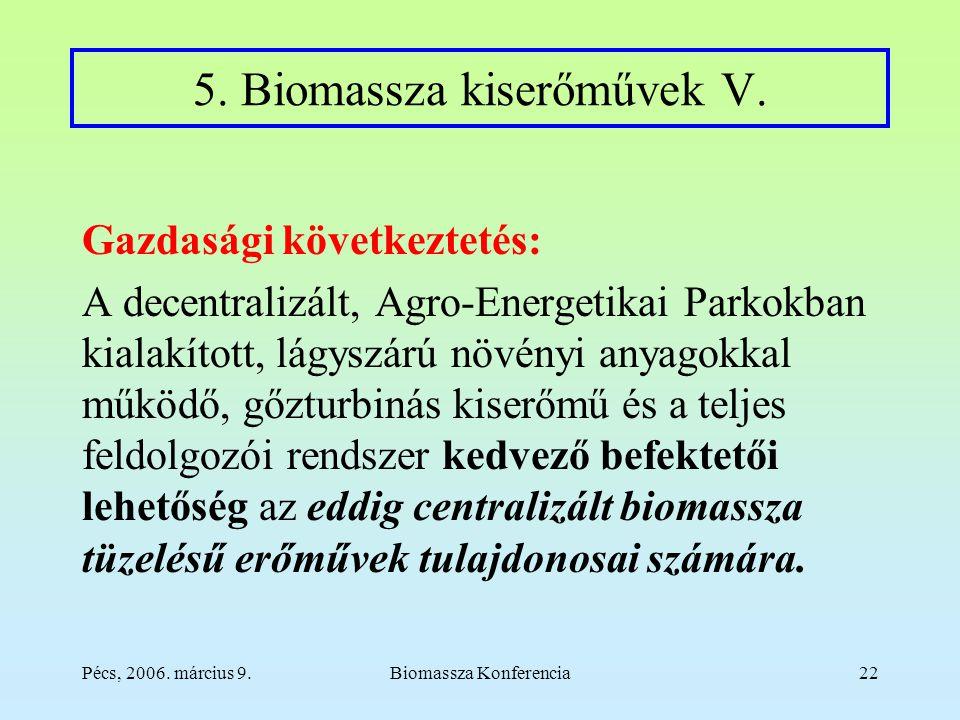Pécs, 2006. március 9.Biomassza Konferencia22 5. Biomassza kiserőművek V.