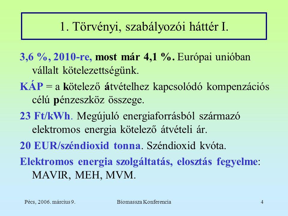 Pécs, 2006. március 9.Biomassza Konferencia4 1. Törvényi, szabályozói háttér I.