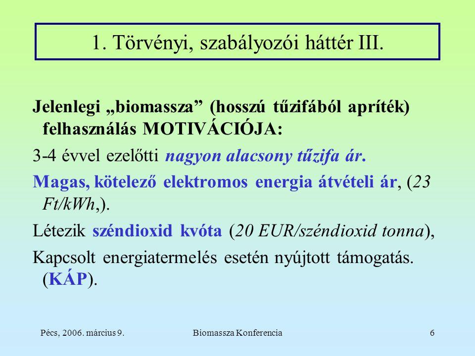 Pécs, 2006. március 9.Biomassza Konferencia6 1. Törvényi, szabályozói háttér III.