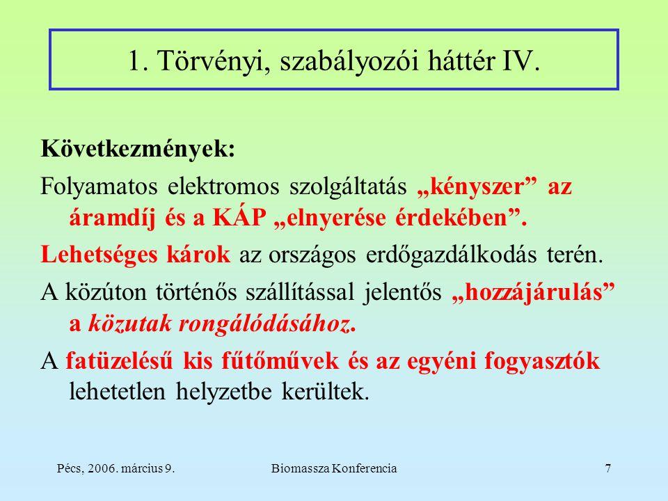 Pécs, 2006. március 9.Biomassza Konferencia7 1. Törvényi, szabályozói háttér IV.