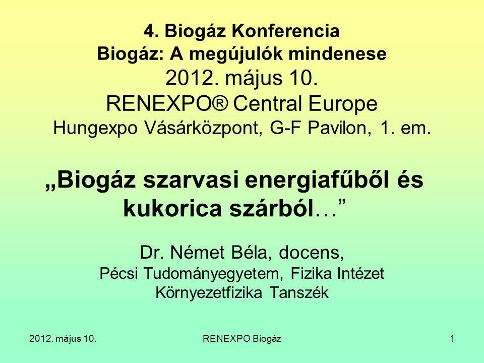 2012. május 10.RENEXPO Biogáz22 Biometán hálózatra feladása