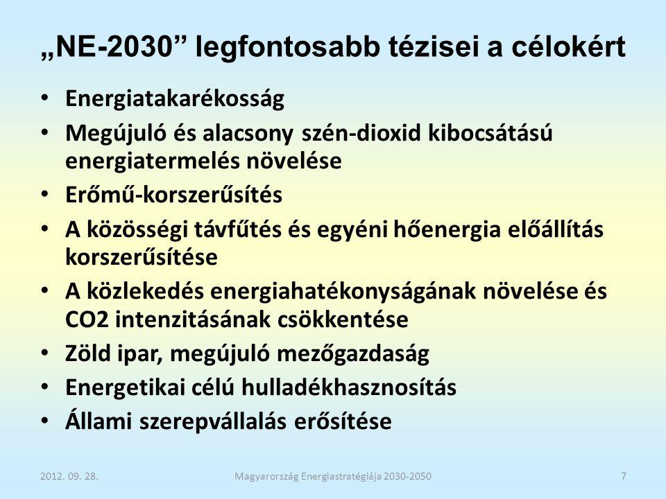 """""""NE-2030 programja villamos energia előállítására A legreálisabbnak tartott és ezért megvalósítandó célként kijelölt jövőképe: A """"Közös erőfeszítés az """"Atom – Szén - Zöld forgatókönyv megvalósítása érdekében."""