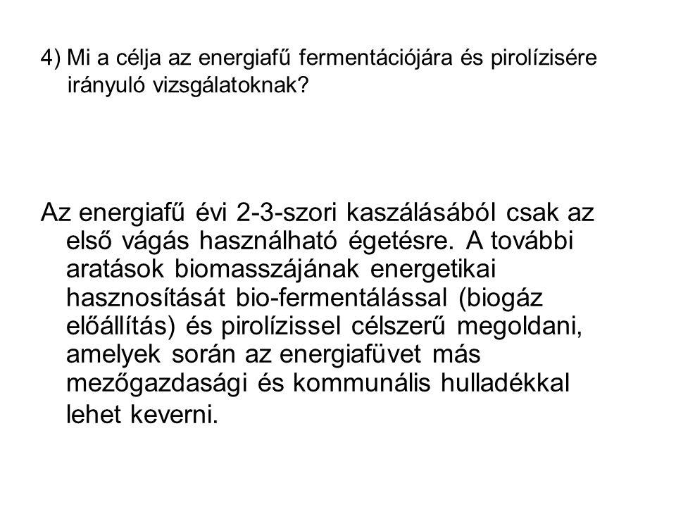 4) Mi a célja az energiafű fermentációjára és pirolízisére irányuló vizsgálatoknak.