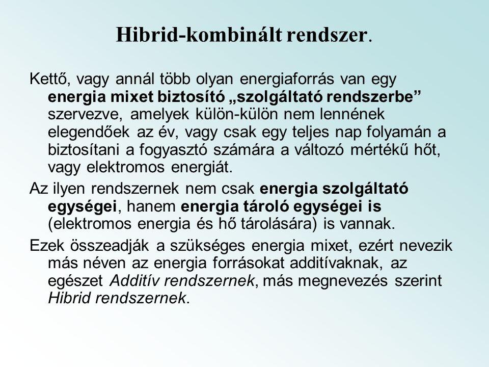 """Hibrid-kombinált rendszer. Kettő, vagy annál több olyan energiaforrás van egy energia mixet biztosító """"szolgáltató rendszerbe"""" szervezve, amelyek külö"""
