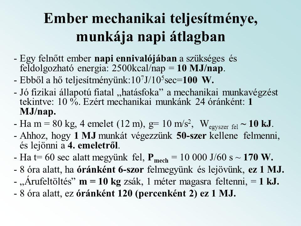 Ember mechanikai teljesítménye, munkája napi átlagban - Egy felnőtt ember napi ennivalójában a szükséges és feldolgozható energia: 2500kcal/nap = 10 M
