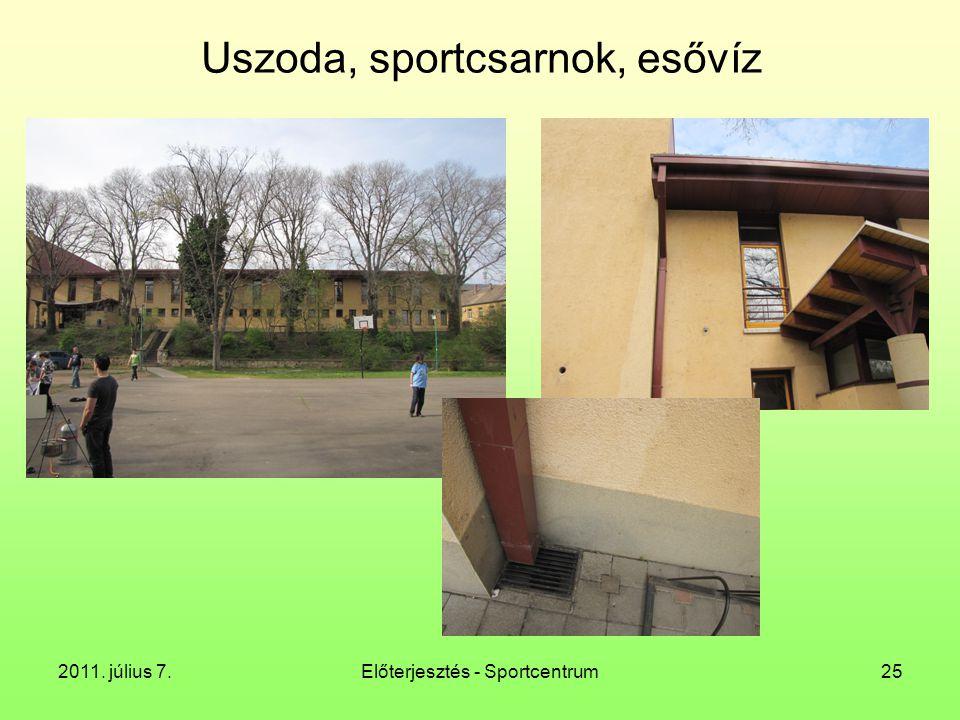 2011. július 7.Előterjesztés - Sportcentrum25 Uszoda, sportcsarnok, esővíz