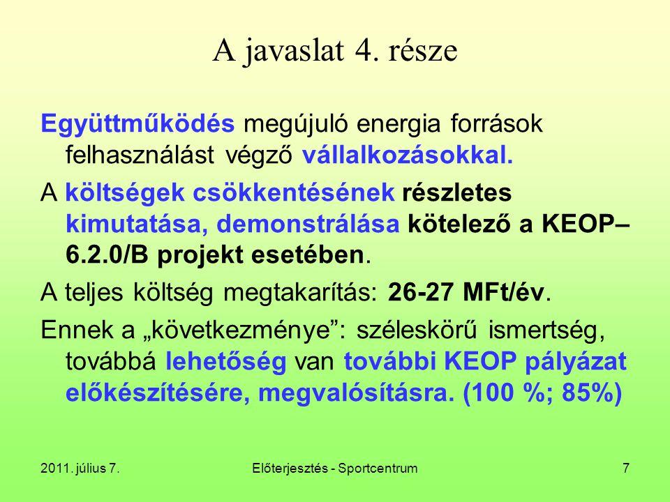 2011. július 7.Előterjesztés - Sportcentrum28 Kazánok: Uniferró (Zalaszentgrót); Hőszig (Szigetvár)