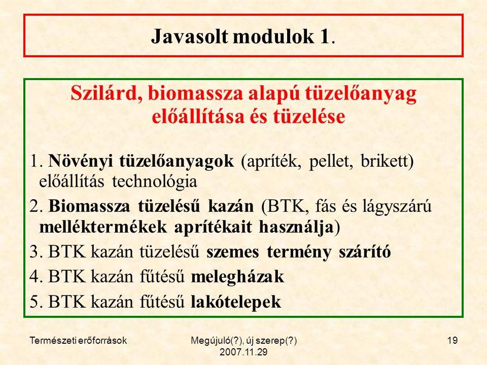 Természeti erőforrásokMegújuló( ), új szerep( ) 2007.11.29 19 Javasolt modulok 1.
