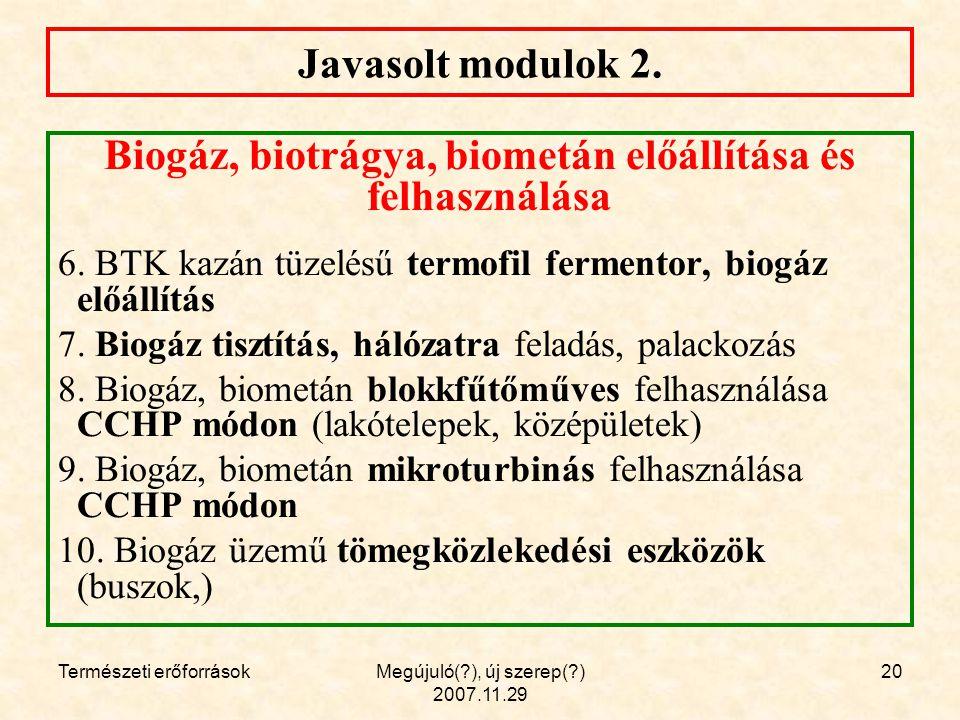 Természeti erőforrásokMegújuló( ), új szerep( ) 2007.11.29 20 Javasolt modulok 2.