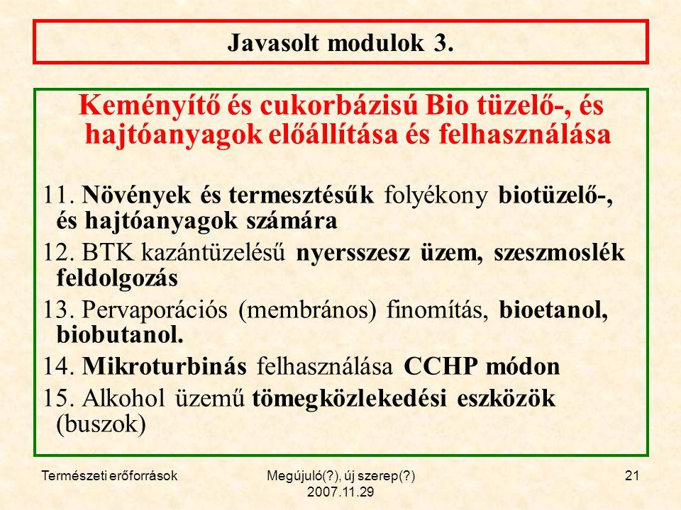 Természeti erőforrásokMegújuló( ), új szerep( ) 2007.11.29 21 Javasolt modulok 3.