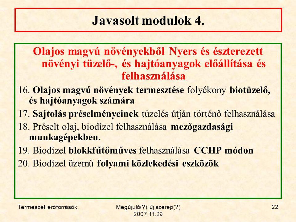 Természeti erőforrásokMegújuló( ), új szerep( ) 2007.11.29 22 Javasolt modulok 4.