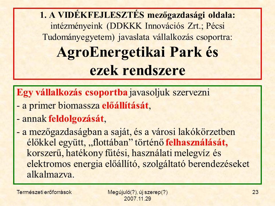 Természeti erőforrásokMegújuló( ), új szerep( ) 2007.11.29 23 1.