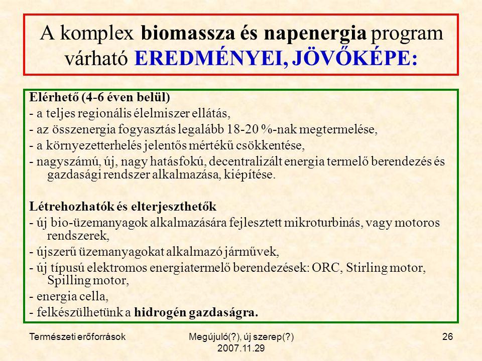 Természeti erőforrásokMegújuló( ), új szerep( ) 2007.11.29 26 A komplex biomassza és napenergia program várható EREDMÉNYEI, JÖVŐKÉPE: Elérhető (4-6 éven belül) - a teljes regionális élelmiszer ellátás, - az összenergia fogyasztás legalább 18-20 %-nak megtermelése, - a környezetterhelés jelentős mértékű csökkentése, - nagyszámú, új, nagy hatásfokú, decentralizált energia termelő berendezés és gazdasági rendszer alkalmazása, kiépítése.