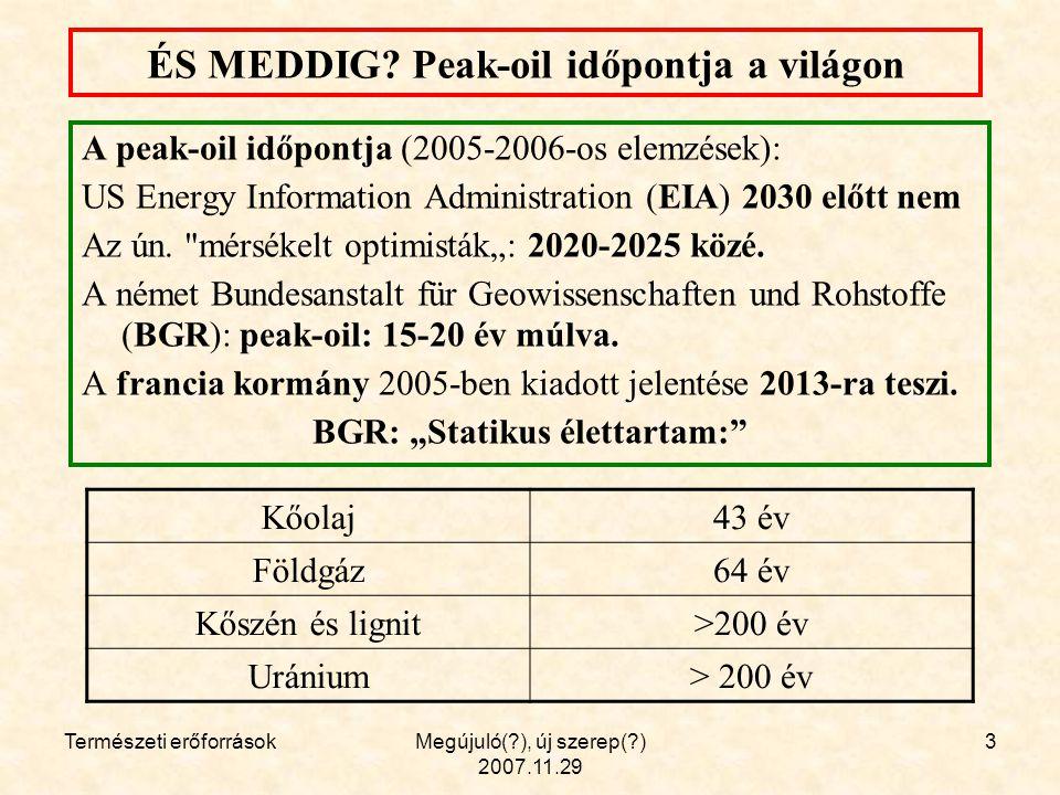 Természeti erőforrásokMegújuló(?), új szerep(?) 2007.11.29 24 2.